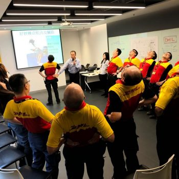 DHL staffs learning physiotherapy exercise, Injury Prevention, Ergonomics